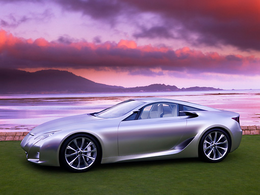 AUT 09 RK1027 01 © Kimball Stock Lexus LF-A Concept Silver 3/4 Front View On Grass By Water