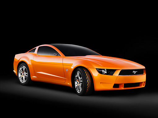 AUT 09 RK1050 01 © Kimball Stock Italdesign Mustang Concept By Giugiaro Orange 3/4 Front View Studio