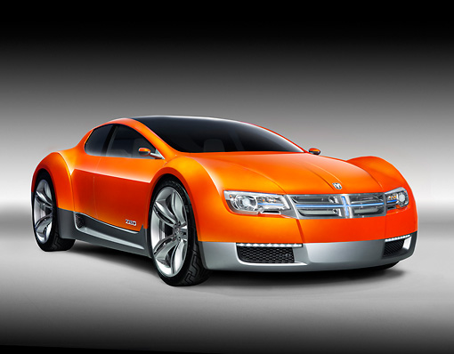 AUT 09 RK1052 01 © Kimball Stock 2008 Dodge ZEO Concept Orange 3/4 Front View Studio