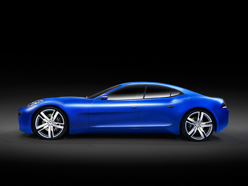 AUT 09 RK1054 01 © Kimball Stock 2010 Fisker Karma Plug-In Hybrid Sports Sedan Blue Profile View Studio