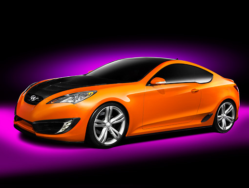 AUT 09 RK1057 01 © Kimball Stock Hyundai Genesis Coupe Concept Orange 3/4 Front View Studio