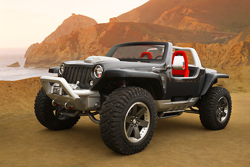 AUT 09 RK1059 01 © Kimball Stock 2005 Jeep Hurricane 3/4 Front View At Coast By Cliffs