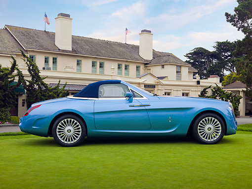 AUT 09 RK1061 01 © Kimball Stock Rolls-Royce Hyperion By Pininfarina Concept Car Blue On Lawn By Mansion Profile