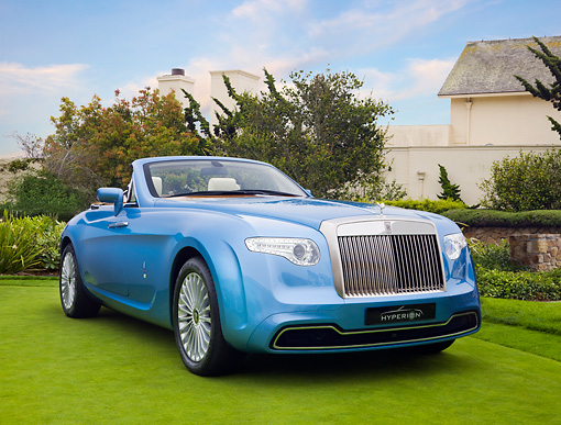 AUT 09 RK1063 01 © Kimball Stock Rolls-Royce Hyperion By Pininfarina Concept Car Blue On Lawn By Mansion 3/4 Front View
