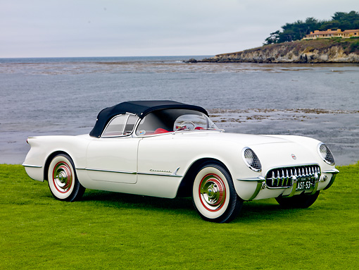 AUT 09 RK1073 01 © Kimball Stock 1953 Chevrolet Corvette Concept White 3/4 Front View On Grass By Ocean