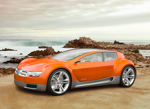 AUT 09 RK1089 01 © Kimball Stock 2008 Dodge ZEO Sport Wagon Concept Orange 3/4 Front View On Beach
