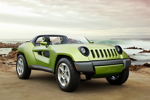 AUT 09 RK1093 01 © Kimball Stock 2008 Jeep Renegade Concept Green 3/4 Front View On Beach