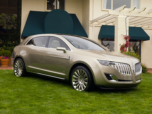 AUT 09 RK1096 01 © Kimball Stock 2008 Lincoln MKT SUV Concept Gold 3/4 Front View On Grass