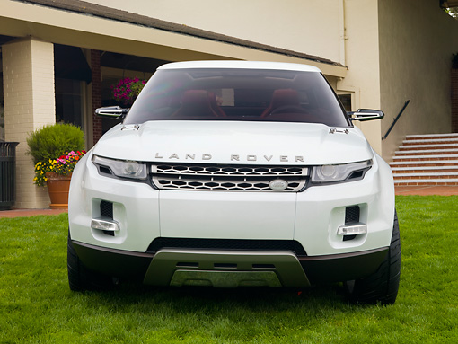 AUT 09 RK1098 01 © Kimball Stock 2008 Land Rover LRX SUV Hybrid Concept White Front View On Grass