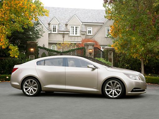 2008 Buick Invicta Sedan Concept Silver Profile View On Pavement By