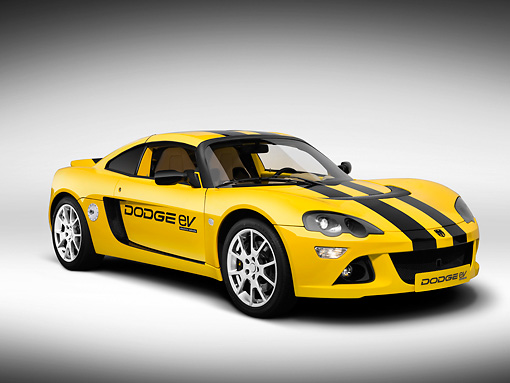 AUT 09 RK1120 01 © Kimball Stock 2008 Dodge EV (Electric Vehicle) Yellow And Black Stripes 3/4 Front View Studio