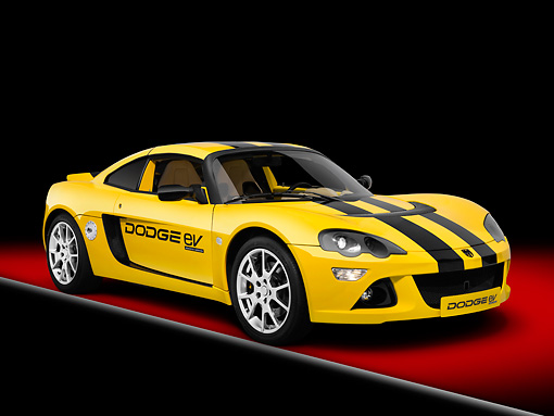 AUT 09 RK1121 01 © Kimball Stock 2008 Dodge EV (Electric Vehicle) Yellow And Black Stripes 3/4 Front View Studio