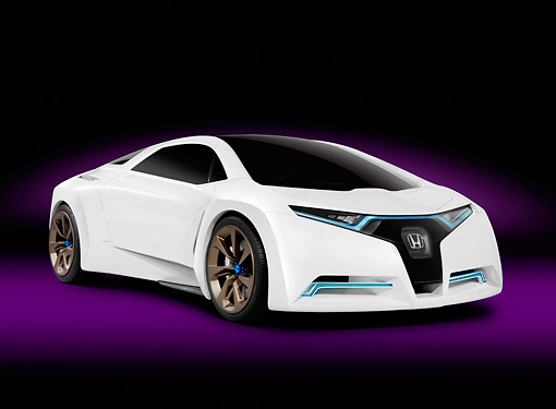 AUT 09 RK1122 01 © Kimball Stock 2009 Honda FC Sport Hydrogen Fuel Cell Concept Car White 3/4 Front View Studio