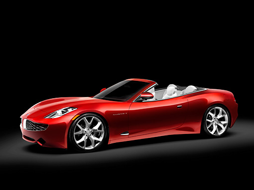 AUT 09 RK1125 01 © Kimball Stock Fisker Karma S Sunset Concept Convertible Red 3/4 Front View Studio