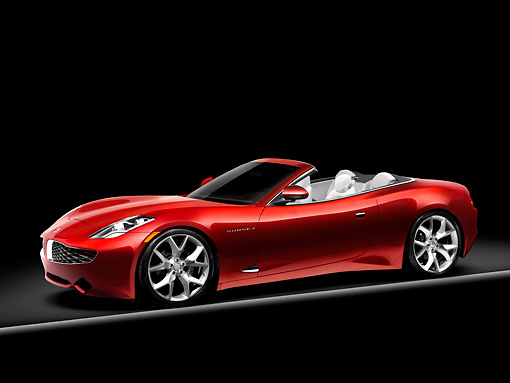 AUT 09 RK1126 01 © Kimball Stock Fisker Karma S Sunset Concept Convertible Red 3/4 Front View Studio