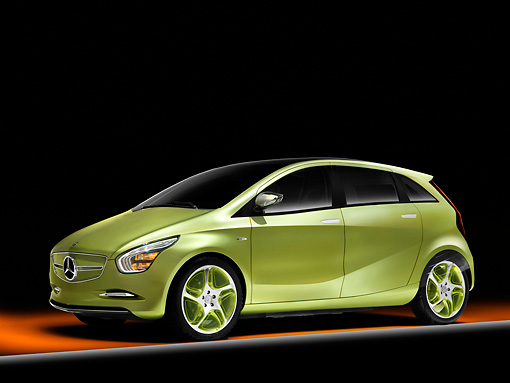 AUT 09 RK1132 01 © Kimball Stock Mercedes-Benz Blue-Zero E-Cell Concept Car Green 3/4 Front View Studio