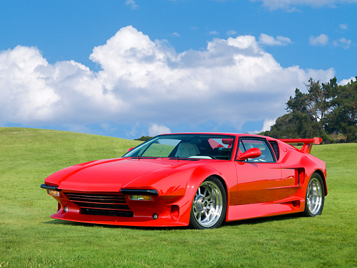 AUT 10 RK0032 01 © Kimball Stock 1971 De Tomaso Pantera Pre-L Red 3/4 Front View On Grass