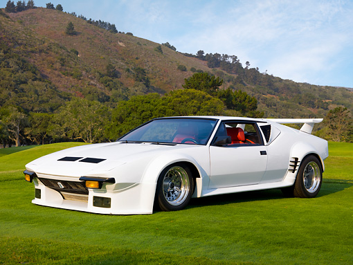 AUT 10 RK0035 01 © Kimball Stock 1972 De Tomaso Pantera GT5 Conversion White 3/4 Front View On Grass