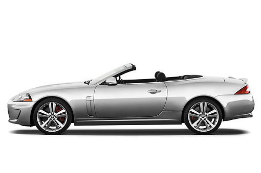 AUT 12 IZ0016 01 © Kimball Stock 2011 Jaguar XKR Convertible Silver Profile View On White Seamless