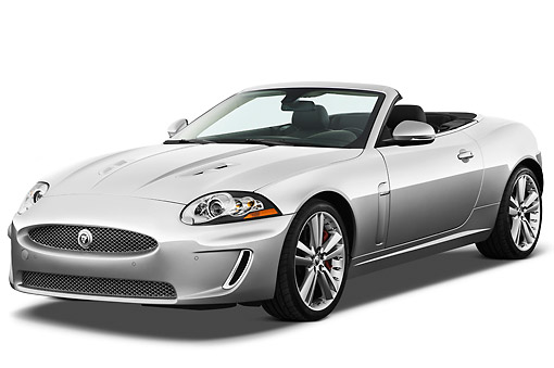 AUT 12 IZ0020 01 © Kimball Stock 2011 Jaguar XKR Convertible Silver 3/4 Front View On White Seamless