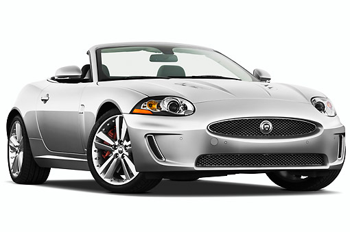 AUT 12 IZ0021 01 © Kimball Stock 2011 Jaguar XKR Convertible Silver 3/4 Front View On White Seamless