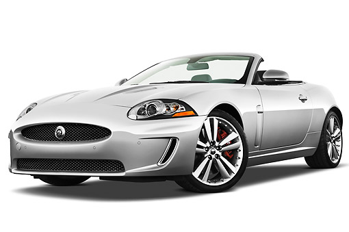 AUT 12 IZ0022 01 © Kimball Stock 2011 Jaguar XKR Convertible Silver 3/4 Front View On White Seamless