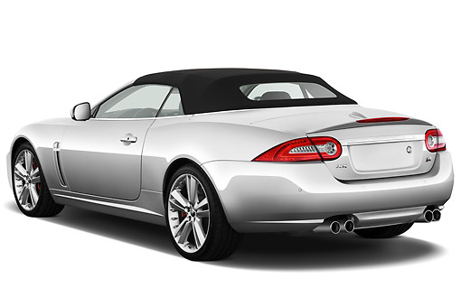 AUT 12 IZ0023 01 © Kimball Stock 2011 Jaguar XKR Convertible Silver 3/4 Rear View On White Seamless