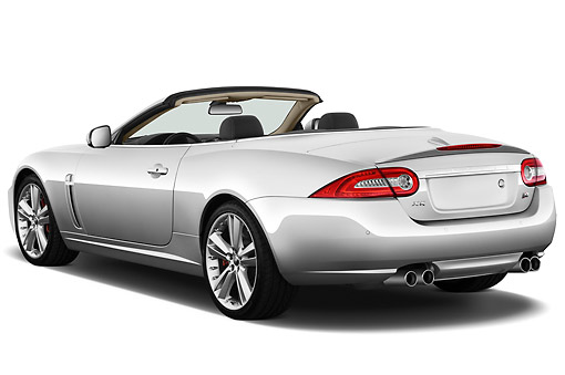 AUT 12 IZ0024 01 © Kimball Stock 2011 Jaguar XKR Convertible Silver 3/4 Rear View On White Seamless