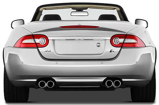 AUT 12 IZ0025 01 © Kimball Stock 2011 Jaguar XKR Convertible Silver Rear View On White Seamless