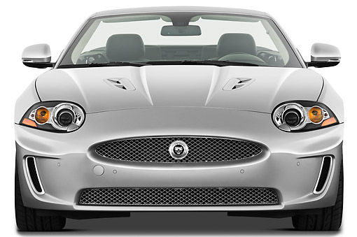 AUT 12 IZ0026 01 © Kimball Stock 2011 Jaguar XKR Convertible Silver Front View On White Seamless