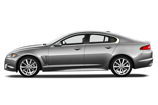 AUT 12 IZ0027 01 © Kimball Stock 2012 Jaguar XF Portfolio Silver Profile View On White Seamless