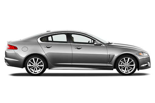 AUT 12 IZ0028 01 © Kimball Stock 2012 Jaguar XF Portfolio Silver Profile View On White Seamless