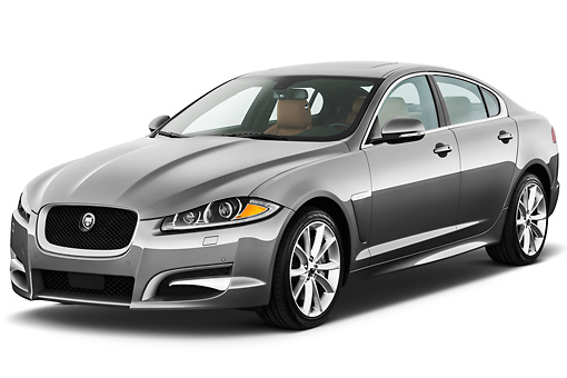 AUT 12 IZ0029 01 © Kimball Stock 2012 Jaguar XF Portfolio Silver 3/4 Front View On White Seamless