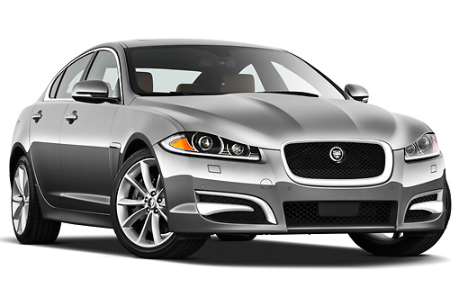 AUT 12 IZ0030 01 © Kimball Stock 2012 Jaguar XF Portfolio Silver 3/4 Front View On White Seamless