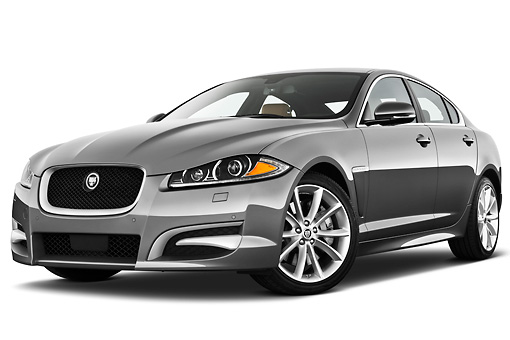 AUT 12 IZ0031 01 © Kimball Stock 2012 Jaguar XF Portfolio Silver 3/4 Front View On White Seamless