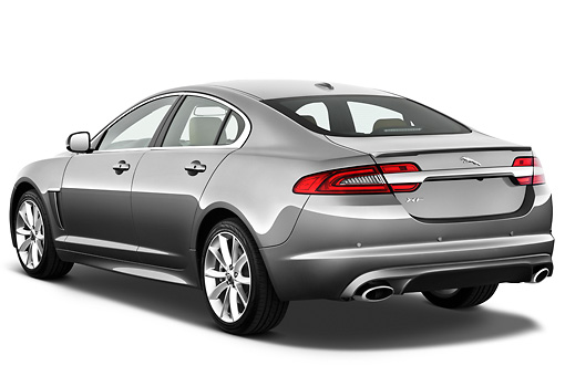 AUT 12 IZ0032 01 © Kimball Stock 2012 Jaguar XF Portfolio Silver 3/4 Rear View On White Seamless