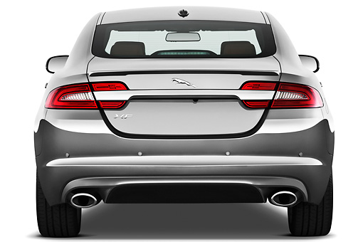 AUT 12 IZ0033 01 © Kimball Stock 2012 Jaguar XF Portfolio Silver Rear View On White Seamless