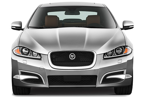 AUT 12 IZ0034 01 © Kimball Stock 2012 Jaguar XF Portfolio Silver Front View On White Seamless