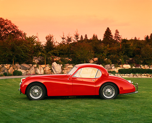 AUT 12 RK0153 01 © Kimball Stock 1954 Jaguar XK120 FHC Red Profile On Grass By Trees Filtered