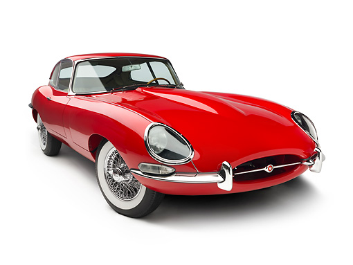 AUT 12 RK0346 01 © Kimball Stock 1966 Jaguar XKE Coupe Red 3/4 Front View On White Seamless