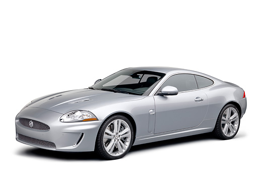 AUT 12 RK0357 01 © Kimball Stock 2011 Jaguar XKR Coupe Silver 3/4 Front View On White Seamless
