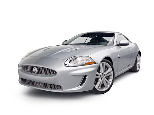 AUT 12 RK0358 01 © Kimball Stock 2011 Jaguar XKR Coupe Silver 3/4 Front View On White Seamless