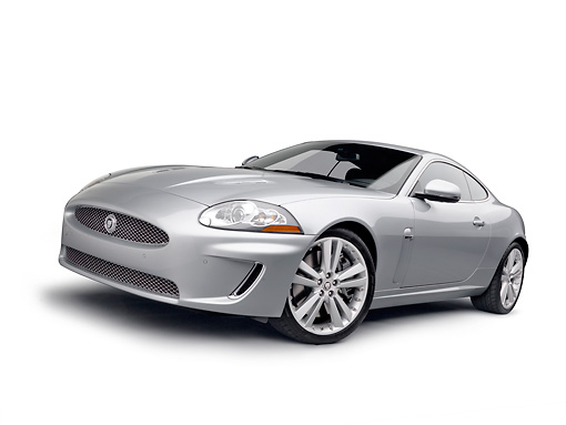 AUT 12 RK0359 01 © Kimball Stock 2011 Jaguar XKR Coupe Silver 3/4 Front View On White Seamless