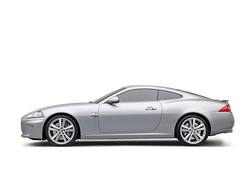 AUT 12 RK0360 01 © Kimball Stock 2011 Jaguar XKR Coupe Silver Profile View On White Seamless