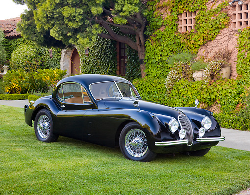 AUT 12 RK0362 01 © Kimball Stock 1953 Jaguar XK120 FHC Black 3/4 Front View On Grass By Trees And Building