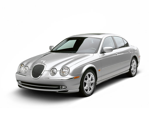 AUT 12 RK0372 01 © Kimball Stock 2001 Jaguar Type S Silver Front 3/4 View On White Seamless