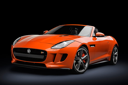 AUT 12 RK0374 01 © Kimball Stock 2014 Jaguar F-Type Firesand Orange 3/4 Front View In Studio