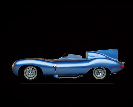 AUT 12 RK0058 05 © Kimball Stock 1955 Jaguar XKD 528 D Type  Roadster Profile View On Gray Line Studio