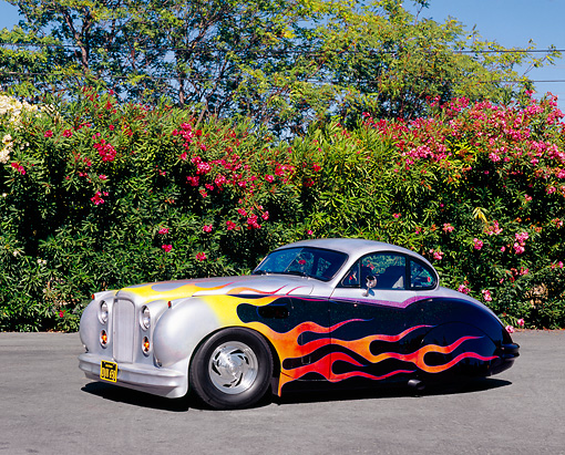 AUT 12 RK0205 04 © Kimball Stock 1952 Jaguar MK VII Silver With Flames 3/4 Side View On Pavement By Pink Bushes