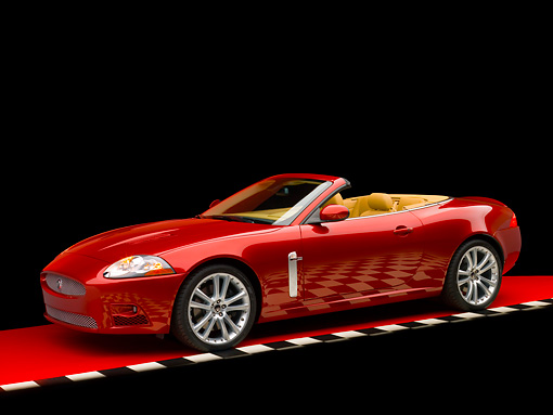AUT 12 RK0265 01 © Kimball Stock 2007 Jaguar XKR Convertible Red 3/4 Side View Checkered Line Studio